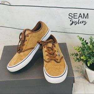 Boys, youth size 5.5 brown camel suede vans shoes
